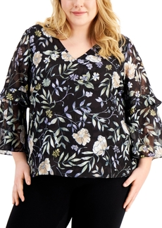Calvin Klein Plus Size Floral-Print Tiered-Sleeve Top