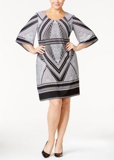 Calvin Klein Plus Size Geo-Print Bell-Sleeve Jersey Dress
