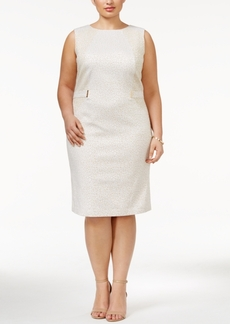 Calvin Klein Plus Size Hardware Jacquard Sheath Dress