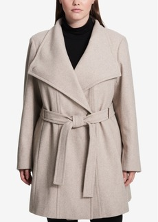 Calvin Klein Plus Size Hardware-Trim Asymmetrical Walker Coat