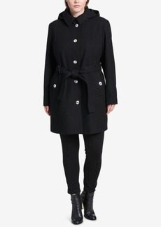 Calvin Klein Plus Size Hooded Belted Walker Coat