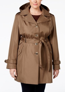 Calvin Klein Plus Size Hooded Single-Breasted Trench Coat