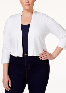 Calvin Klein Plus Size Lace-Back Cropped Cardigan