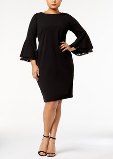 Calvin Klein Plus Size Lace-Bell-Sleeve Scuba Dress