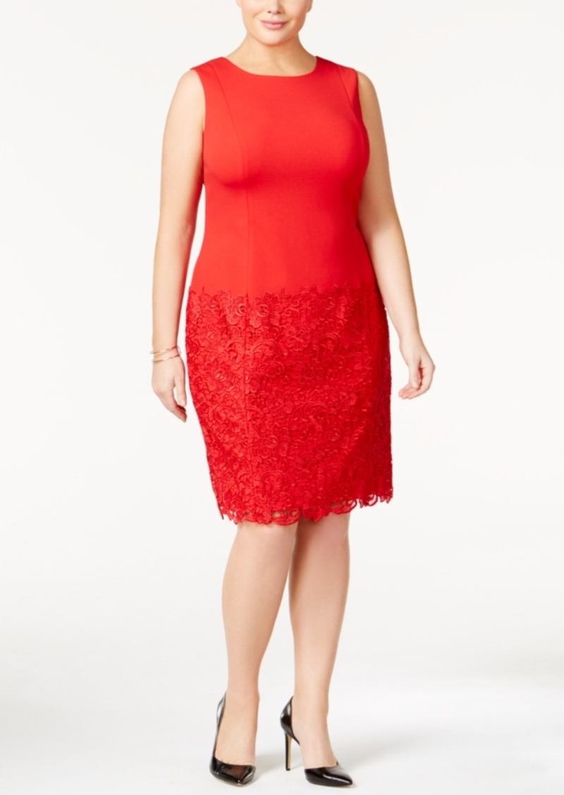 Calvin Klein Plus Size Lace-Inset Sheath Dress