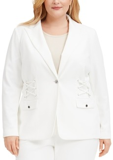 Calvin Klein Plus Size Lace-Up Button Blazer