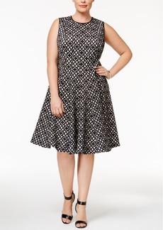 Calvin Klein Plus Size Laser-Cut Fit & Flare Dress