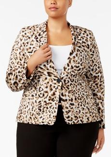 Calvin Klein Plus Size Leopard-Print Blazer