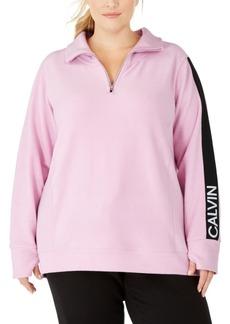 Calvin Klein Plus Size Logo-Sleeve Zip-Neck Top