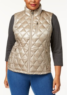 Calvin Klein Plus Size Metallic Diamond-Quilted Vest