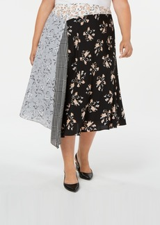 Calvin Klein Plus Size Mixed-Print Asymmetrical Midi Skirt