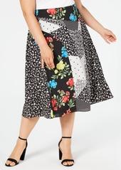 Calvin Klein Plus Size Mixed-Print Midi Skirt