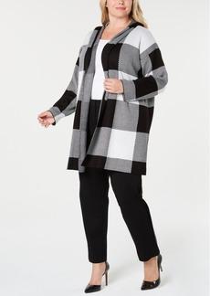 Calvin Klein Plus Size Open-Front Checkered Jacket