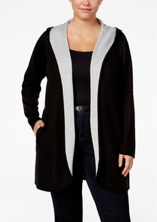 Calvin Klein Plus Size Open-Front Hooded Cardigan