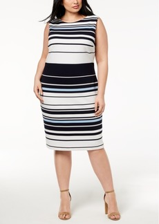 Calvin Klein Plus Size Ottoman Striped Sheath Dress