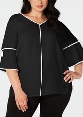 Calvin Klein Plus Size Piped-Trim Top