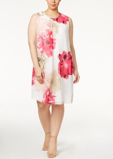 Calvin Klein Plus Size Pleated Floral-Print Shift Dress
