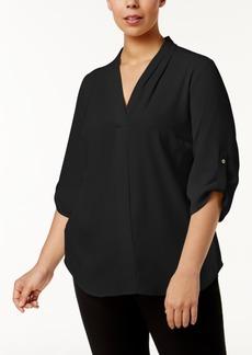 Calvin Klein Plus Size Pleated-Neck Blouse