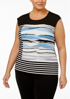 Calvin Klein Plus Size Printed & Striped Top