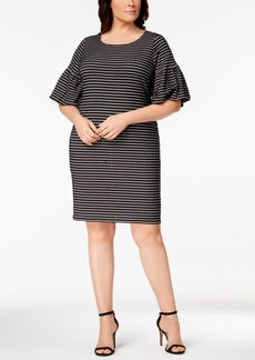 Calvin Klein Plus Size Printed Bell-Sleeve Shift Dress