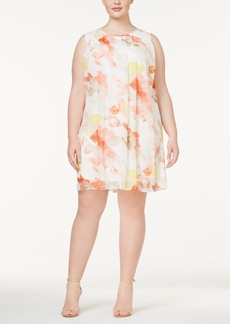 Calvin Klein Plus Size Printed Pleated Shift Dress