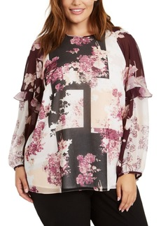 Calvin Klein Plus Size Printed Ruffle-Sleeve Top