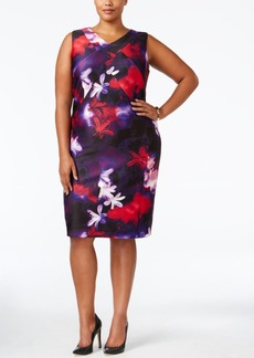 Calvin Klein Plus Size Printed Scuba-Knit Sheath Dress