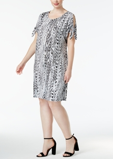 Calvin Klein Plus Size Printed Split-Sleeve Dress
