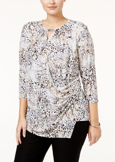Calvin Klein Plus Size Printed Wrap Blouse