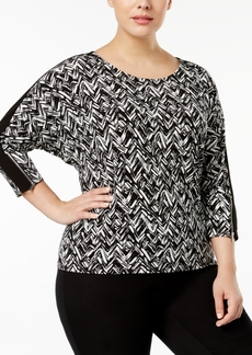 Calvin Klein Plus Size Printed Zipper-Trim Top