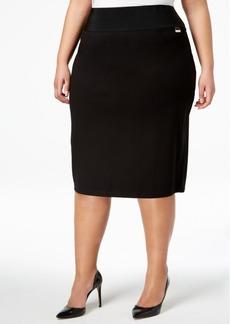 Calvin Klein Plus Size Pull-On Tummy-Control Pencil Skirt