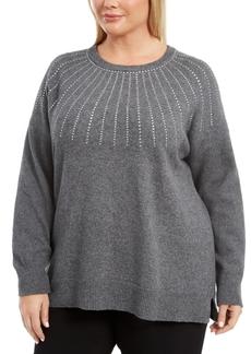 Calvin Klein Plus Size Rhinestone Crewneck Sweater