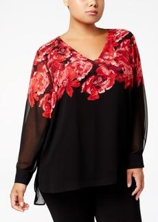 Calvin Klein Plus Size Rose-Print Tunic Blouse