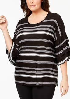 Calvin Klein Plus Size Ruffle-Sleeve Striped Sweater