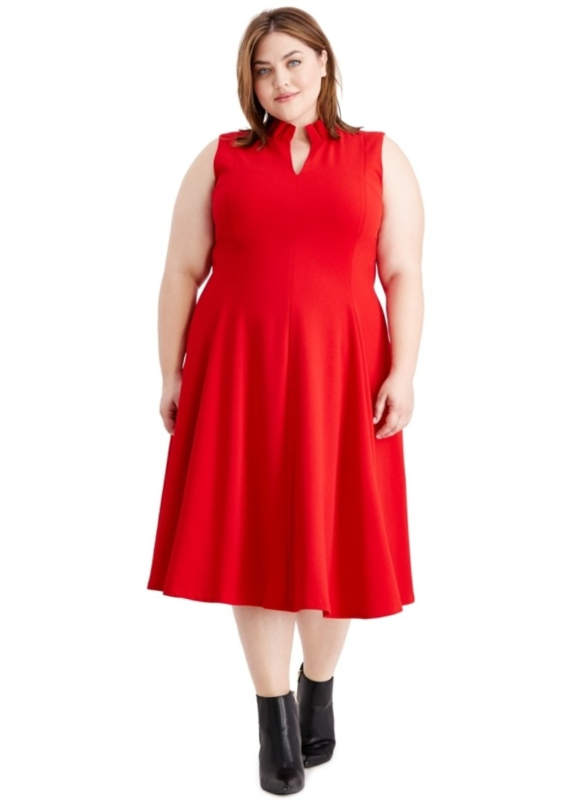Calvin Klein Plus Size Ruffled-Collar Dress