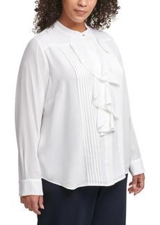 Calvin Klein Plus Size Ruffled Pintuck-Pleat Blouse