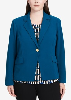 Calvin Klein Plus Size Scuba One-Button Blazer