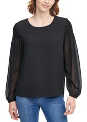 Calvin Klein Smocked-Sleeve Top