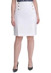 Calvin Klein Plus Size Side-Button Pencil Skirt