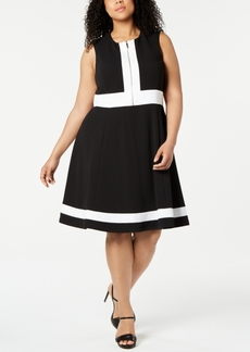 Calvin Klein Plus Size Sleeveless Colorblock Fit & Flare Dress