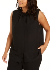 Calvin Klein Plus Size Sleeveless Ruffle-Neck Blouse