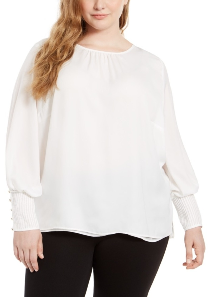 Calvin Klein Plus Size Smocked Blouson-Sleeve Top