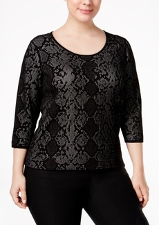 Calvin Klein Plus Size Snake-Print Jacquard Sweater