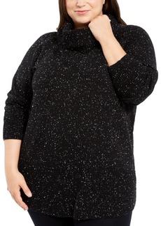 Calvin Klein Plus Size Space-Dye Cowlneck Sweater
