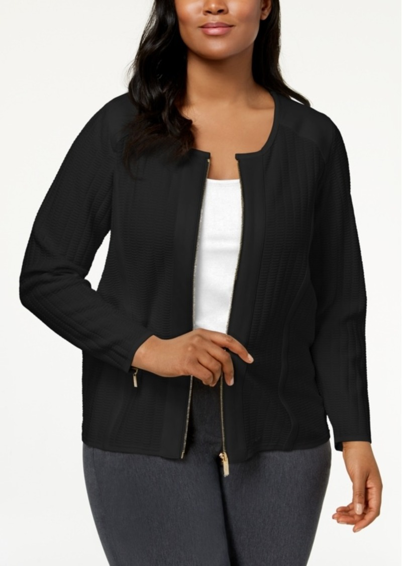 cef75ffb1da Calvin Klein Calvin Klein Plus Size Stitched Knit Moto Jacket ...