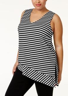 Calvin Klein Plus Size Striped Asymmetrical Top