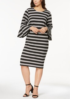 Calvin Klein Plus Size Striped Bell-Sleeve Dress