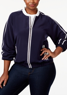 Calvin Klein Plus Size Striped Bomber Jacket