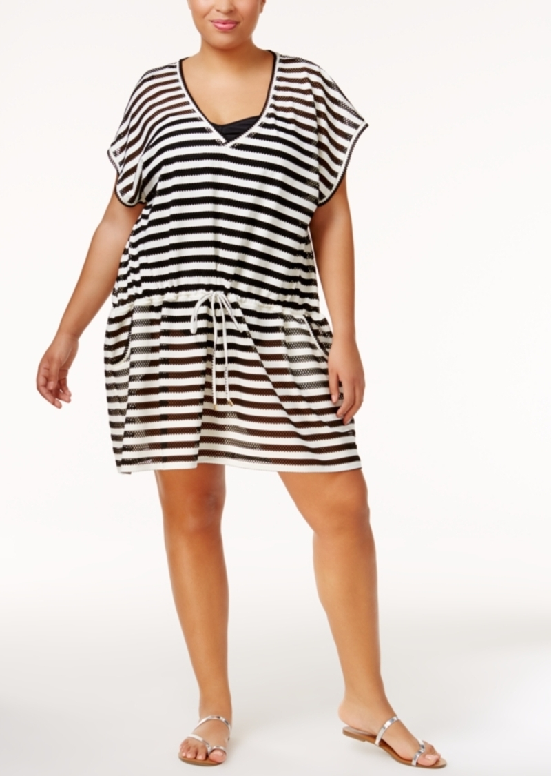 Calvin Klein Calvin Klein Plus Size Striped Crochet Cover Up Womens