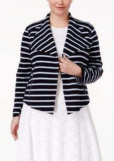 Calvin Klein Plus Size Striped Flyaway Blazer